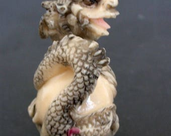Vintage Japanese Netsuke -  Dragon Wraps Pearl of Wisdom (COMPOSITE)