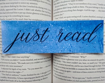 Just Read water colored bookmark