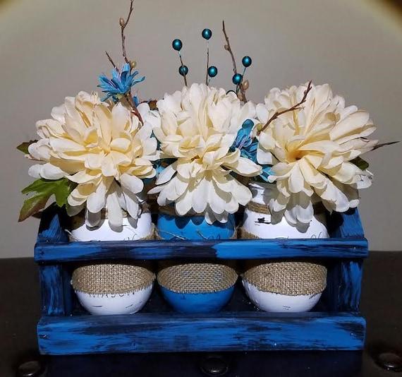 Ball mason jars centerpiece wood crate blue wedding
