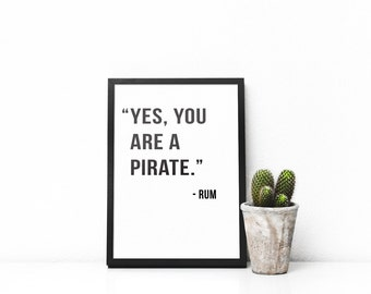 Alcohol Quote Prints / Funny Print / Funny Gift / Gift for Her / Gift for Him / Rum / Valentines Gift / Birthday Gift