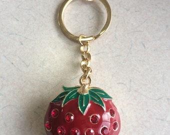 Strawberry Fruit Jeweled Gold Keychain