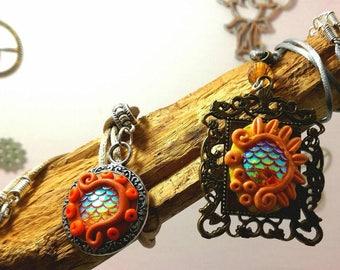 Mermaid scales pendants in orange