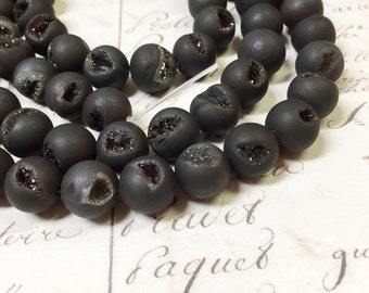 AA quality, Druzy Agate Beads, Round, 10mm, Full strand,