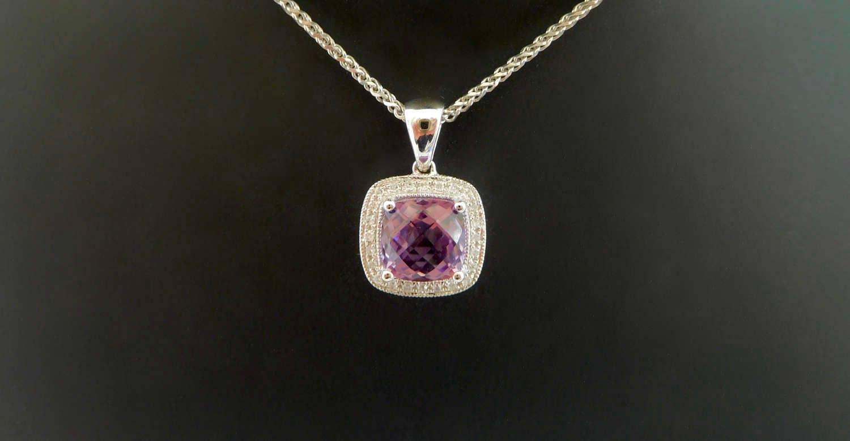 Diamond Necklace Wedding Gift : ... diamond necklace, amethyst wedding gift, amethyst and diamond cluster