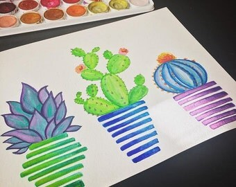 Hand painted watercolor succulents