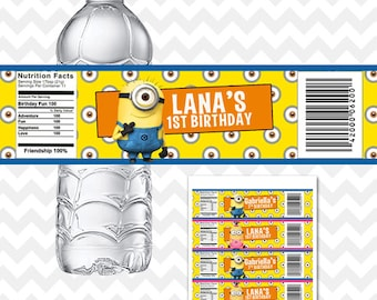 Minion Water Bottle Labels, For Girls and Boys Party Favors, Minion Bottle Labels, Minions Birthday Party Printables, Minions Labels, Custom