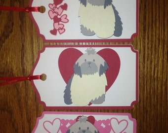 Crafty Tags by Kristin 3D Dimensional Layered Shih Tzu Heart Love Valentine Gift Tag Assortment Pack of 3