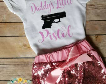 "Infant, Toddler, Baby Girl, Girls, Custom Personalized Outfit ""Daddy's Little Pistol"" Sequined Shorts,Glitter, Design Toddler Little Girl"