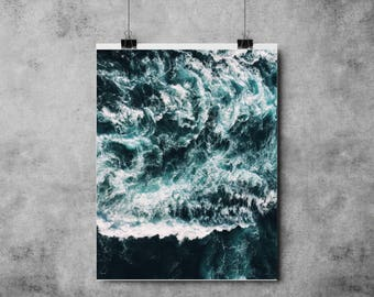 Green Waves - Green/Turquoise - (A4/A3) Ocean / Sea / Waves / Print