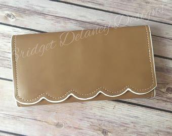 Monogrammed scallop edge wallet