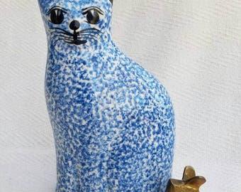 Vintage Ceramic Blue and White Cat Figurine