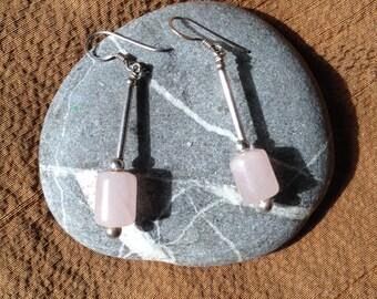 Vintage rose quartz earrings