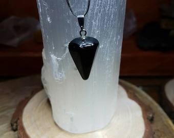 Small Black Onyx Crystal Pendulum Pendant