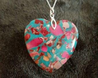 Solid Sterling silver heart shaped sea sediment Jasper stone necklace & gift box