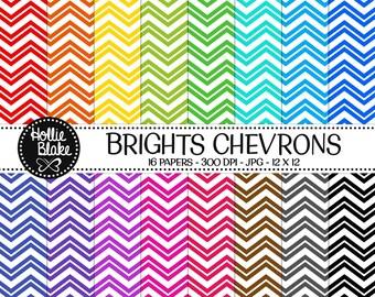 Buy 1 Get 1 Free!! 16 Bright Chevron Digital Paper • Rainbow Digital Paper • Commercial Use • Instant Download • #CHEVRON-133-1-B