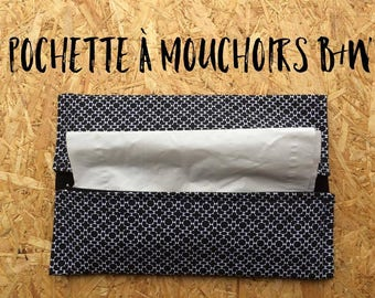 B & W - Fabric pouch for tissues tissue holder