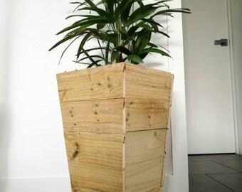 Rustic wood indoor planter