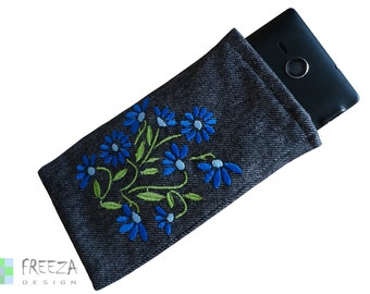 Embroidered flower smartphone/mobile case handmade eco-friendly cotton graphite jeans