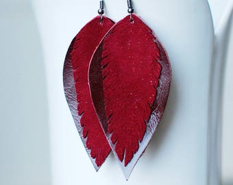Long Leather Earrings- Leather Earrings- Dangle Earrings- Recycled Earrings- Boho Earrings- Feather Earrings- Red Earrings