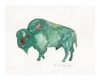 Turquoise Bison (Buffalo)-PRINT