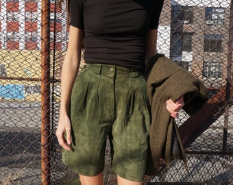 Sale! Green Suede Shorts | High Rise Vintage | Leather Pleated Shorts