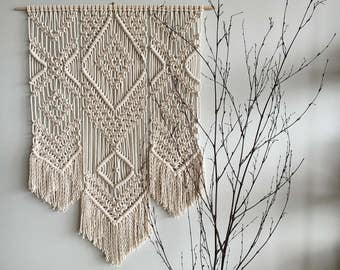 Extra large woven wall hanging with fringe; Macrame tapestry; Textile wall art