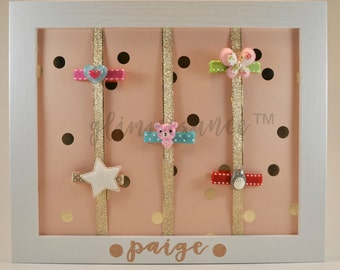 Personalized Hair Clip Holder *LIMITED EDITION - Paige Polka Dots Frame*