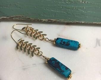 Deep Blue Pendant Earrings