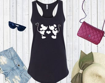 Mickey and Minnie Kissing Cute Tank. Disneyland Couples Tank Top. Disneyworld Tank. Cute Disney Tanks. Family Matching Shirts [E0308]