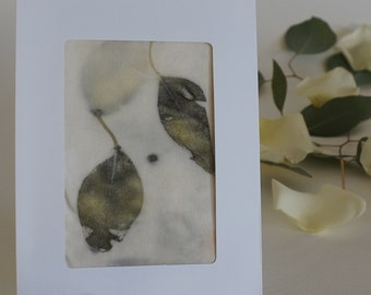 Card with eucalyptus leaves printed onto organic bamboo