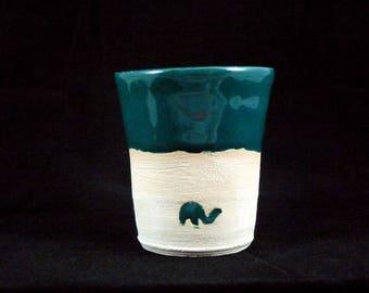 Green espresso cup, elephant