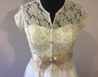 Wedding Bridal Vintage style Lace Top Jactet