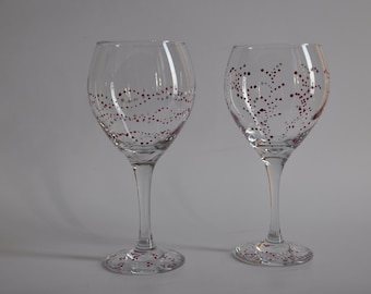Wine Glass Set of Two -- Hand Painted Polka Dot Design -- 20 oz.