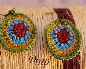 Crochet earrings. Accessories. Add-ins. Bijoux-jewelry crochet. Ethnic