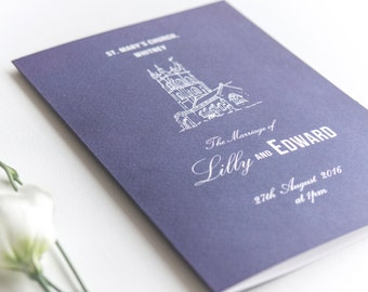 Traditional Style Order Of Service 4-page Booklet / Navy Blue