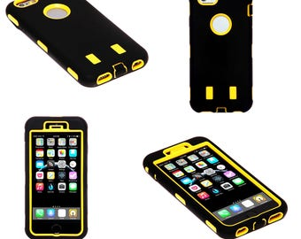 Yellow and Black Hard Shock Proof Armour Tough Case Cover for iPhone 6 and 6S Plus