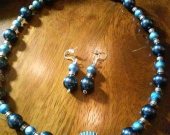 Shades Of Blue Beaded Necklace Set