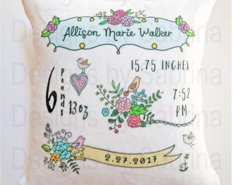 VINTAGE BABY PILLOW-Baby Pillow-Birth Announcement-Nursery Decor-Baby Pillow-Personalized Pillow-New Baby-Birth Stats-Flowers-Sketch