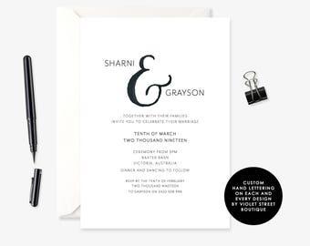Romantic Modern Wedding Invitation, Printable Wedding Invitation, Printable wedding invitation, Customised wedding stationery suite