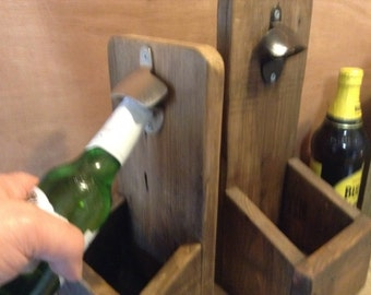 Rustic beer bottle opener with cap catcher. A perfect Fathers Day gift.