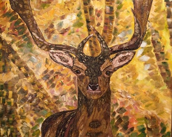 Deer in Wood - original oil colour painting canvas