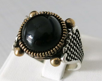 Handmade 925 Sterling Silver Natural Black Agate STONE Men's RING #C67