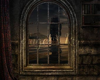 Window digital background, pirate ship in sea / Digital Backdrop for composite photography. Digital prop.  Instant download.