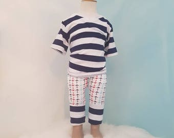 Rolling pants 6 to 12 months. Boy. Boats anchor, striped blue and white, marine.
