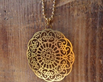 Great mandala necklace, antique gold, gold plated