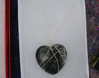 Wire Wrapped Heart Granite Necklace