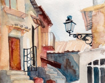 Calcata, Italy - giclee print of an original watercolor (5.5 x 8.5 in)