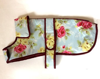 Pretty vintage style floral small dog showerproof jacket