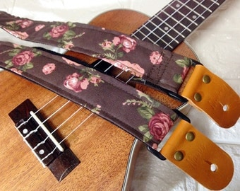 Nuovo Ukulele strap chocolate Floral fabric leather attachment with free pin end