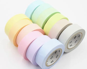 Sample Set - washi tape MT 2016 spring collection set of 12 basic soft colors 60cm each <MT101>